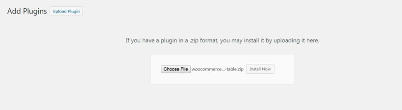 Uploading a new plugin in WordPress.