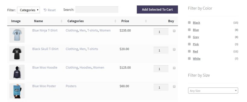 A filters widget on a WooCommerce page.