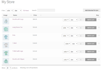WooCommerce Product Table plugin with product variations displayed as dropdown lists.