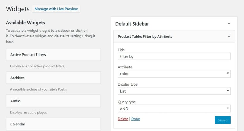 The WooCommerce Product Table filters widget.