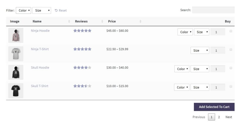 An example of a WooCommerce Product Table with variations.
