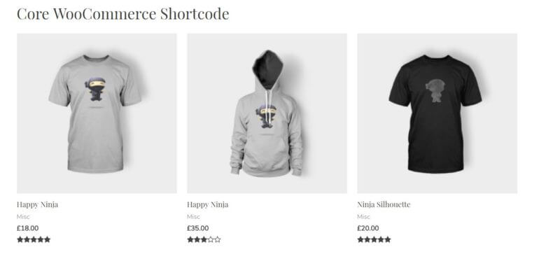 core woocommerce products shortcode