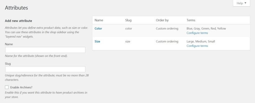The WooCommerce product attributes page.