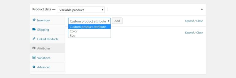 Adding a product attribute in WooCommerce.