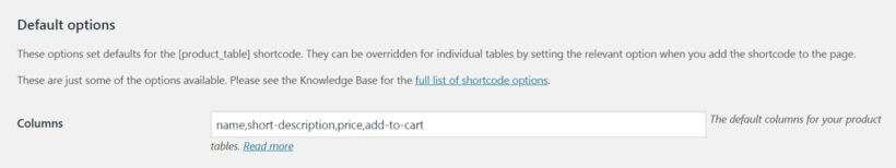 The WooCommerce Product Table columns field.