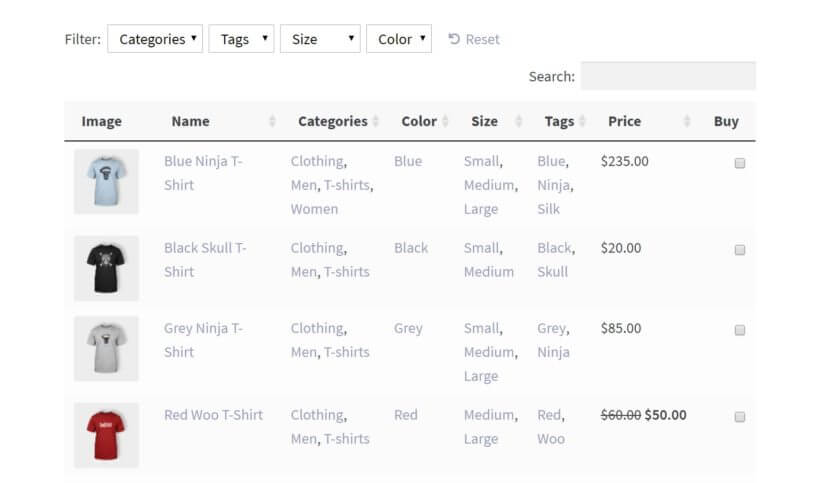 An example of a WooCommerce product table displaying attributes.
