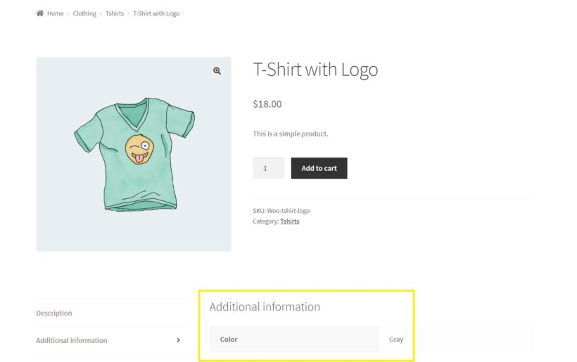 A WooCommerce product page displaying attributes.