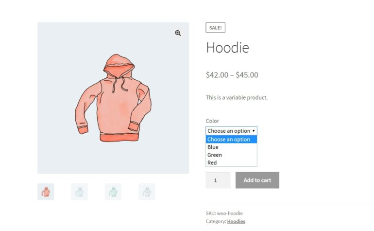 An example of a generic WooCommerce product page with variations.