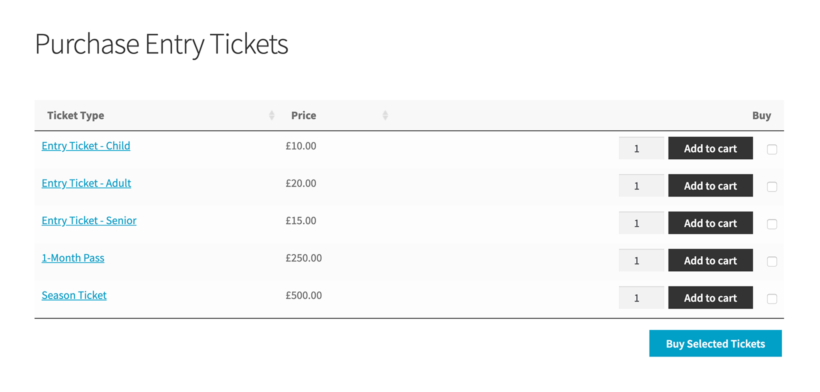 WooCommerce sell entry tickets