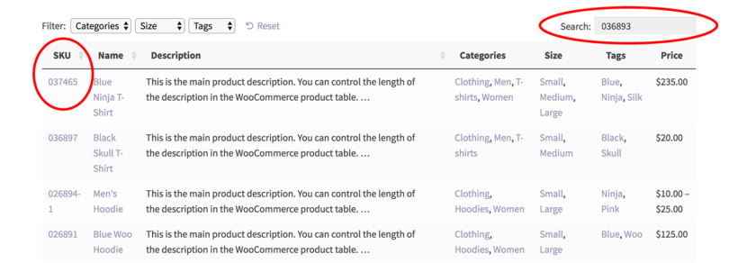 WooCommerce sort search by SKU