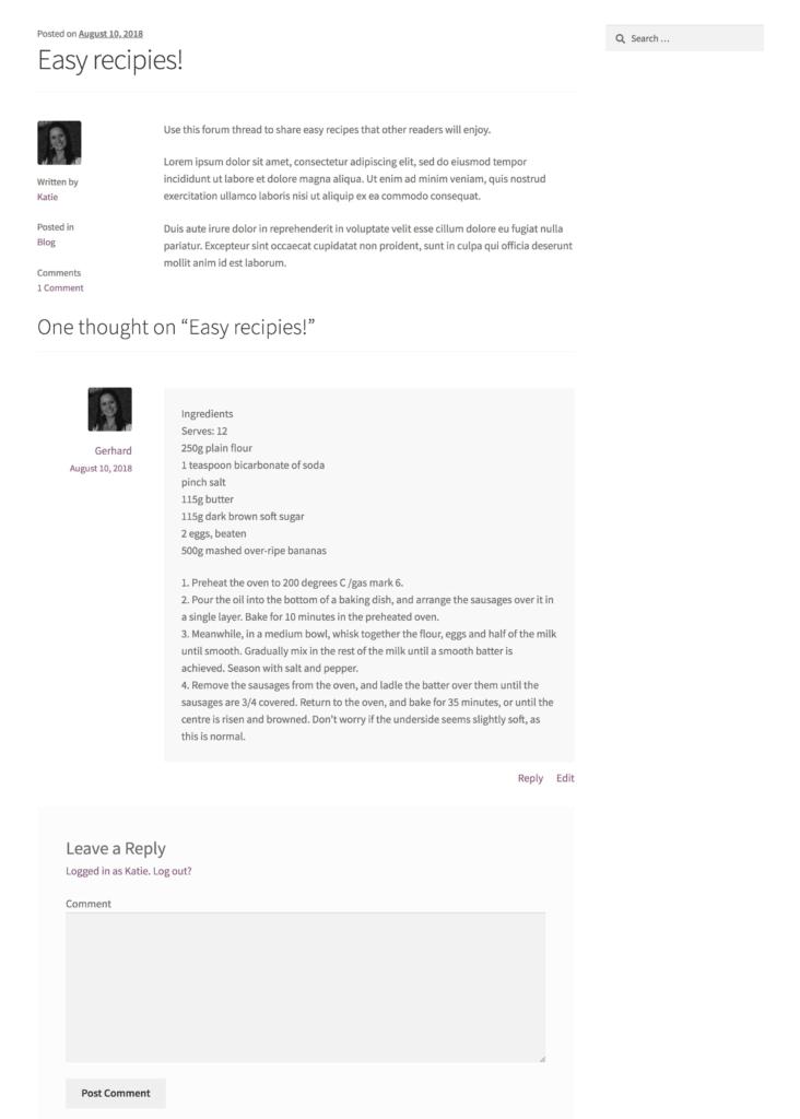 WordPress cookery forum plugin
