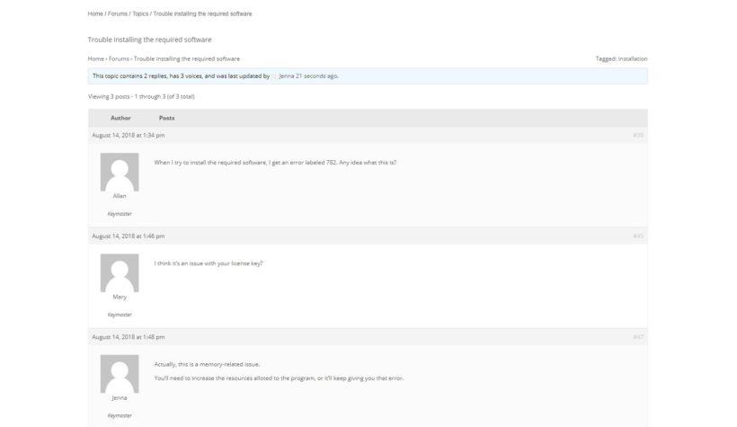 A forum thread in bbPress.