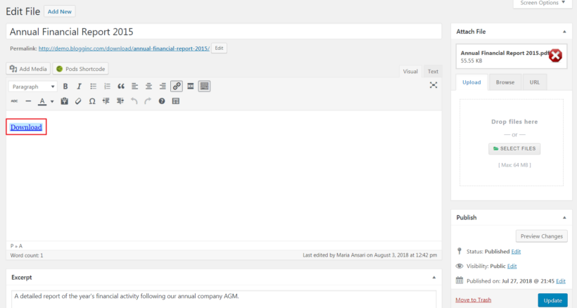Add New File screen for Downloads custom post type.