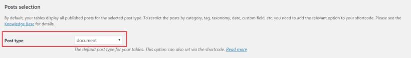 Post type option set to document