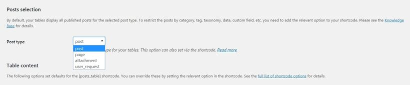 The post type option in Posts Table Pro.