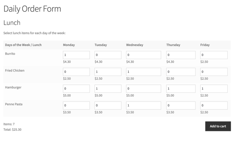 Daily order form grid layout