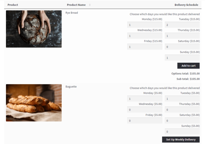WooCommerce daily order form
