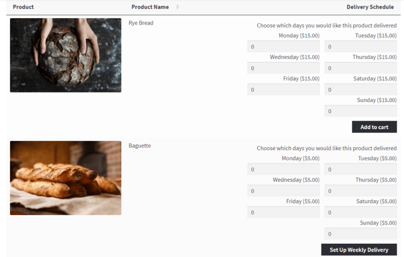 woocommerce daily order form example