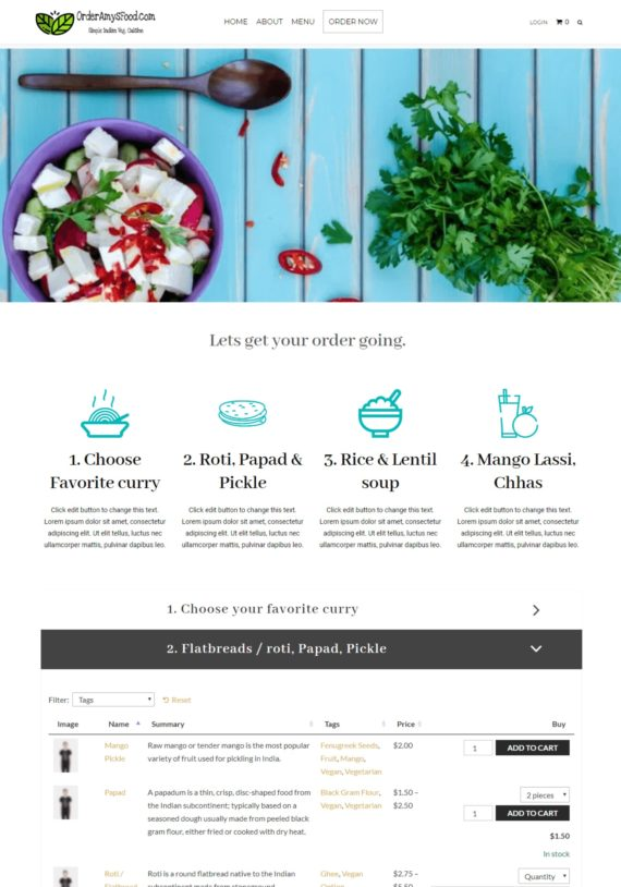 Single page food order form