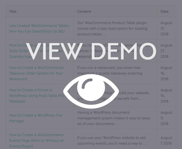 WordPress Posts Table Plugin Demo
