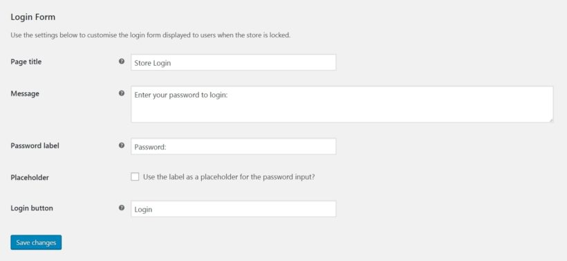 WooCommerce Private Store login form settings.