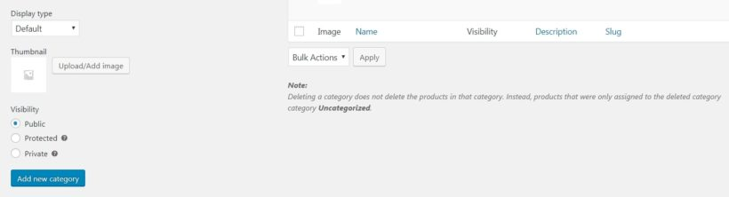 The WooCommerce Product Categories Visibility section.