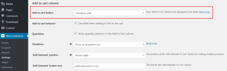 WooCommerce Product Table's settings screen.