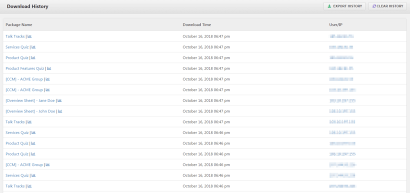 Preview of the complete download history generated by WordPress Download Manager plugin.