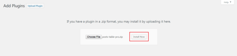 Install Now button in WordPress back-end.