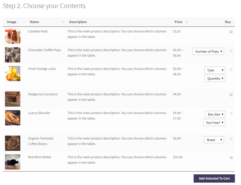 Mix and match products order form on the front-end