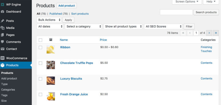 Items added as products in WooCommerce.