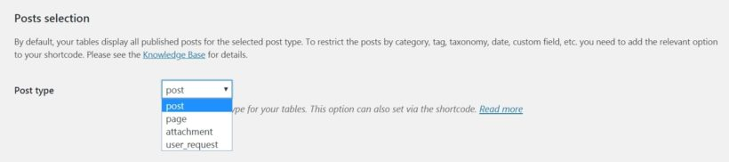 The Posts Table Pro post type setting.