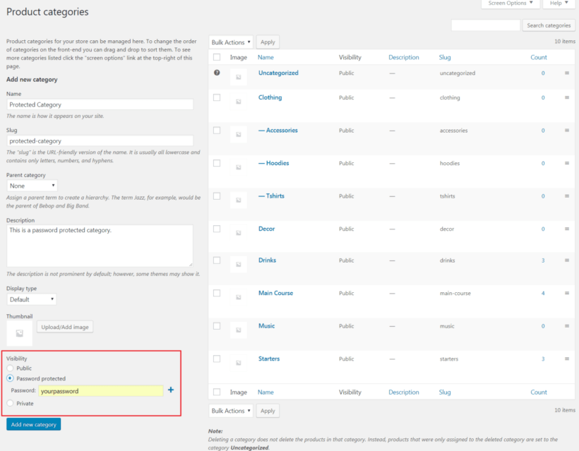 Product Categories screen in WooCommerce.