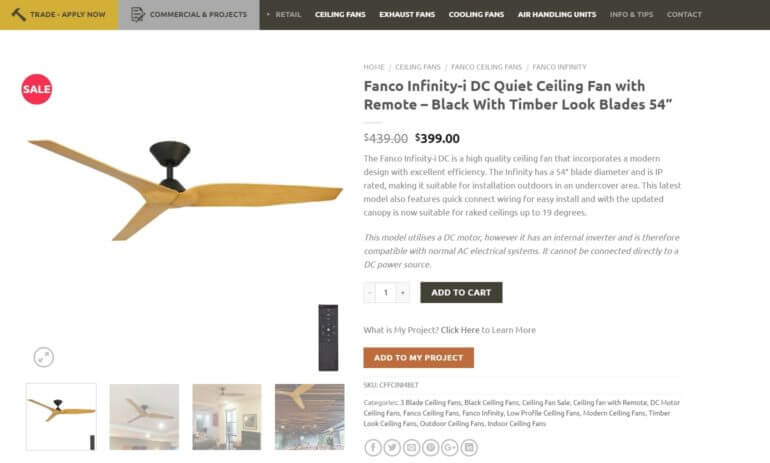 A ceiling fan on the Universal Fans website.