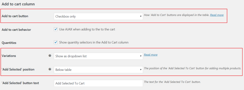 WooCommerce Product Table settings page.