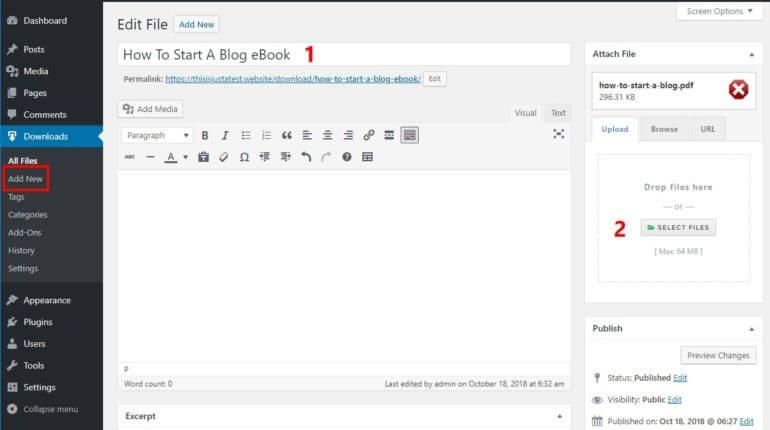 Upload files to WordPress Download Manager