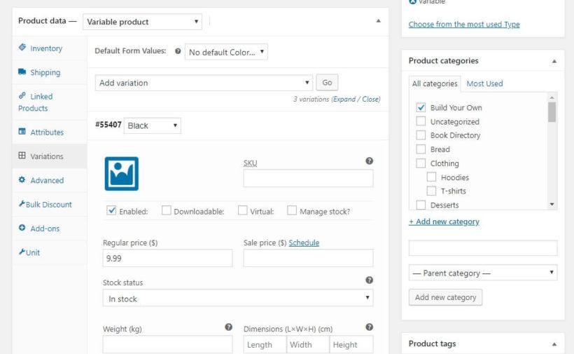 WooCommerce product data