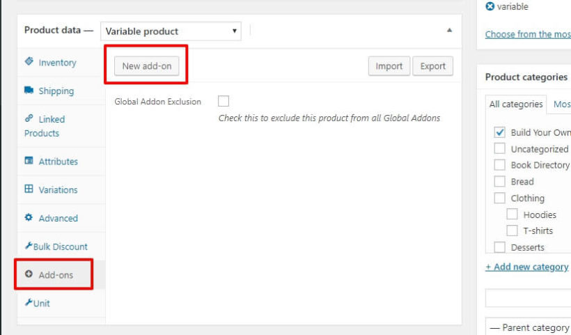 WooCommerce product add-ons interface