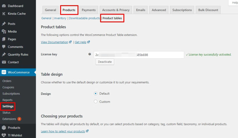 WooCommerce product table settings