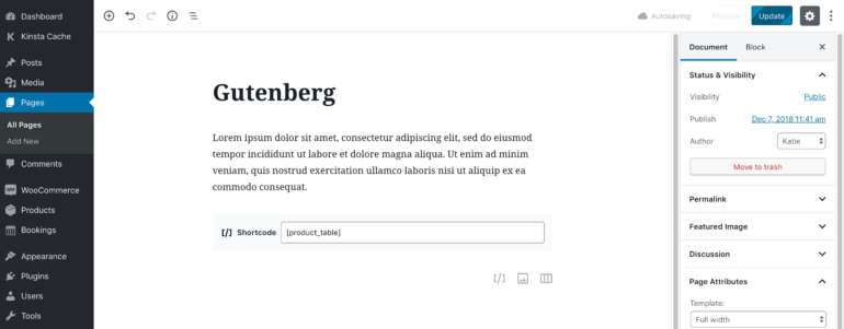 WooCommerce Product Table Gutenberg Block