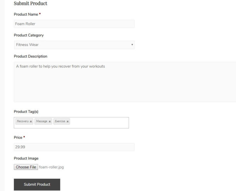 Example of WooCommerce Frontend Product Submission form