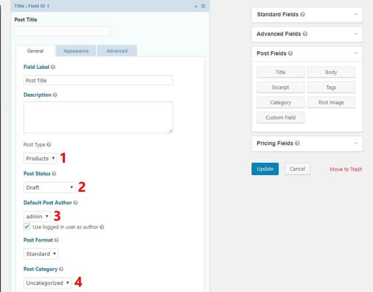Configure title field