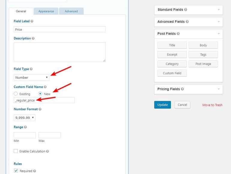 Configure price field