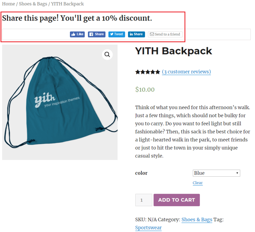 Front-end preview of the YITH WooCommerce Share for Discounts plugin with social share buttons