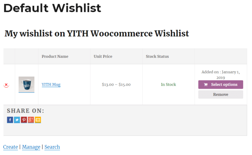Front-end preview of the YITH WooCommerce Wishlist plugin