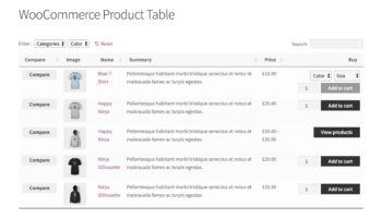 WooCommerce Product Table with comparison buttons