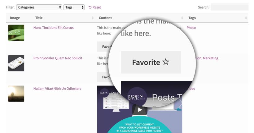 WordPress Favorite Button Plugin