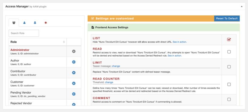 WordPress access control plugin