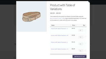 Product options as a popup window in a table