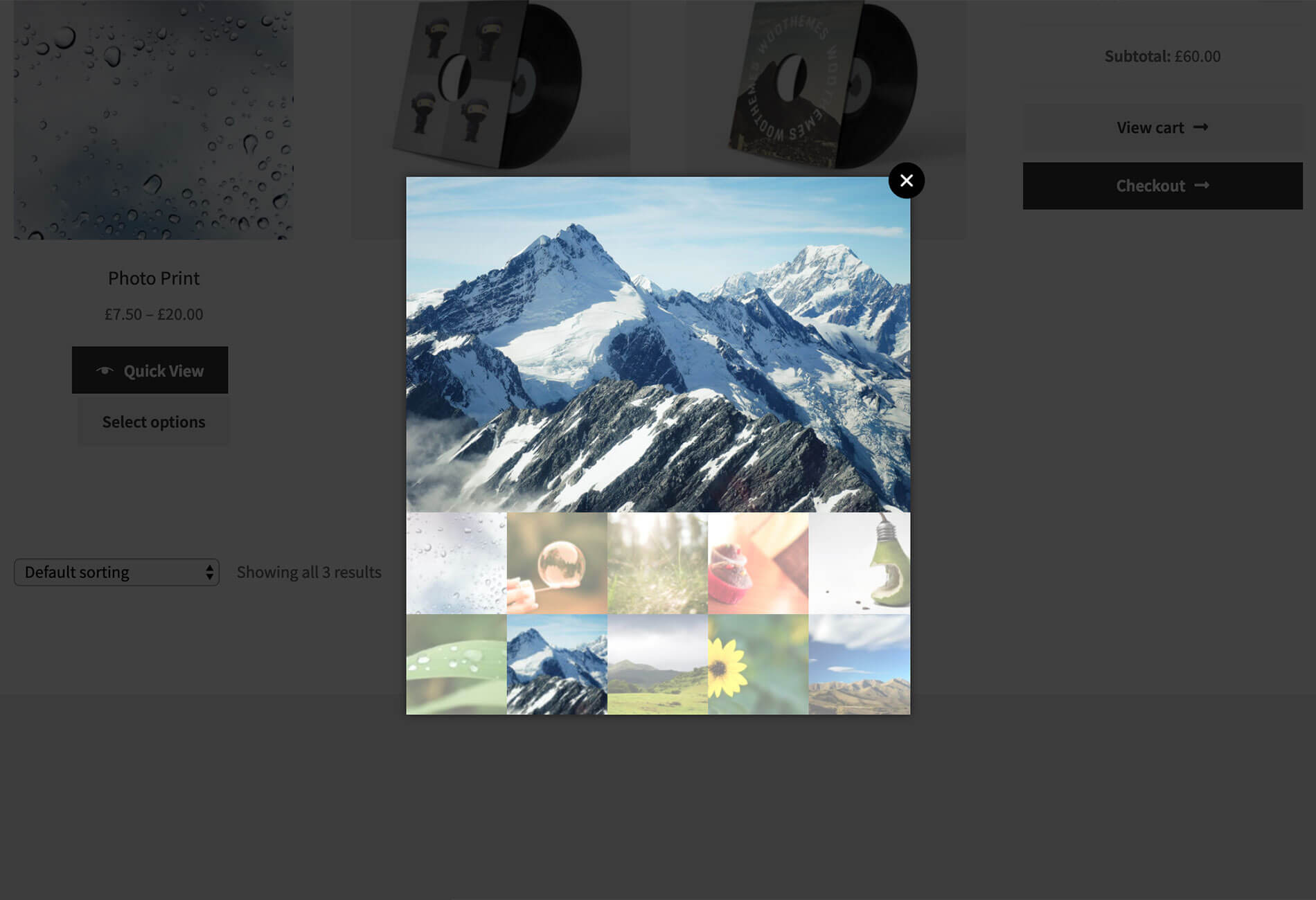 WooCommerce photos quick view example